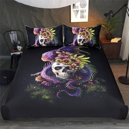 purple floral bedding sets 2019 - Flower Skull Bedding Set Purple Gothic Duvet Cover Dangerous Monster Floral Bed Set Mystery Art Bedclothes cheap purple