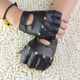 Hollow Fingers Australia - 1Pair Fashion Boy Gloves Cool Hollow PU leather Biker Driving Gloves for Men Black Half Finger Fingerless Guantes