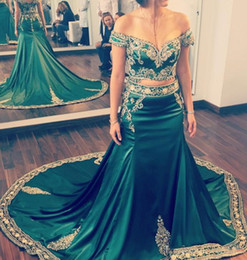 Indian Formal Evening Dress Australia - 2019 Two Piece Hunter Green Mermaid Prom Dresses Off Shoulder Gold Lace Applique Beaded Indian Arabic Kaftan Long Formal Evening Party Gowns