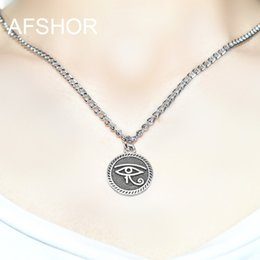 Egypt Pendants Australia - 2019 New Lovely Style Single Layer Ancient Egypt Totem Round Eyes of Horus Adjustable Necklace 45 cm Long Chain Choker Necklace Jewelry Gift