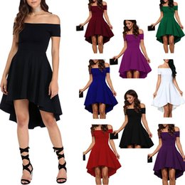 Red Skating Dresses Australia - Europe and the United States summer women's casual strapless dress word collar short sleeve large swing swallowtail skirt high and low skate