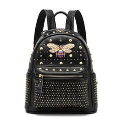 $enCountryForm.capitalKeyWord Australia - New Fashion Backpack Genuine Leather School Bags For Teenage Girls Fashion Style Designer Rivets Bee Travel Back pack Sac A Dos Femme