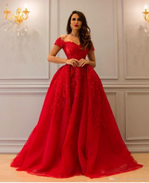 Short Red Lace Prom Vintage Dress Australia - yousef aljasmi red arabic prom dresses elegant off shoulder short sleeve applique lace beaded formal ball gown evening gowns 2018 Prom Dress
