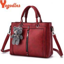 $enCountryForm.capitalKeyWord Australia - Yogodlns Medium Large Capacity Ladies Totes Zipper Bear Strap Thread Shopping Office Women Crossbody Shoulder Bag Handbags Y19062003