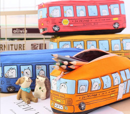 toy school buses Canada - Children Pencil Case Cartoon Bus Car Stationery Bag Cute Animals Canvas Pencil Bags For Boys Girls School Supplies Toys Gifts Free DHL