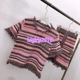 Girls Tassel Shirt Australia - High end women girl knit striped tassel button t-shirt short sleeve top tee +single-breasted slim knitted short midi skirt 2 piece dress set