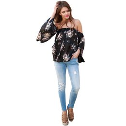 4ba785f0e1589 Fashion t shirt women sexy Off Shoulder Flower Print Long Sleeve Loose Casual  Tops camisetas mujer cropped