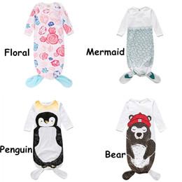 $enCountryForm.capitalKeyWord Australia - INS Baby Sleeping Bag Cartoon Animal Bear Penguin Mermaid Floral Printed Sleeping Bag Infant Newborn Long Sleeves Pajamas Baby Clothes 186