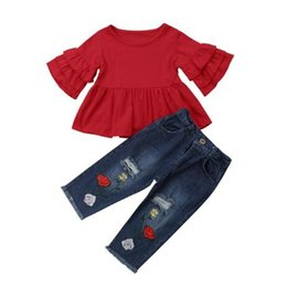 t shirts holes UK - 2019 Summer Toddler Baby Girl Clothes Set Ruffles T-shirt Tops+Floral Denim Long Hole Pants Baby Baby Clothing 1-4T