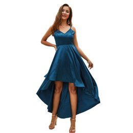 Green Midi Evening Dresses UK - New Sling Front Short Back Long Party Evening Dress for Women Sexy Fashion Elegant Solid Dovetail Prom Club Dress Dinner Dress