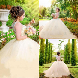 dress quinceanera princess cheap Canada - Gorgeous Champagne Princess 2019 Quinceanera Dresses Ball Gown Sheer Neck Major Beaded 2019 Custom Made Prom Gowns Organza Tiered Cheap