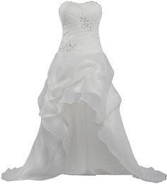 $enCountryForm.capitalKeyWord UK - Beaded Sweetheart Organza Beach High Low Wedding Dresses with Ruffles Sweep Train Wedding Gowns Lace Up