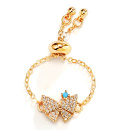 Butterfly Rings For Women Australia - Creative Fashion Charm Gold Plated Chain Sweet Butterfly Open Ring Adjustable Retractable Ring Copper Jewelry For Women