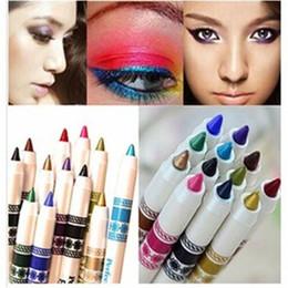 Wholesale Glitter Lips Australia - 12 Color Glitter Lip liner Eye Shadow eye liner Pencil Pen Cosmetic Makeup Set