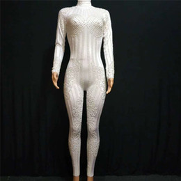 Sexy Pole Dancing Australia - Y03 Female pole dance wears dress singer perform pearl bodysuit sexy women white jumpusit Elastic outfits dance costume clothes party wears