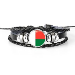 China Genuine Leather Rope Beaded Bracelet Bangles for Men Women Glass Cabochon Madagascar National Flag World Cup Football Fan Adjustable Jewelry cheap glass cabochon plate suppliers