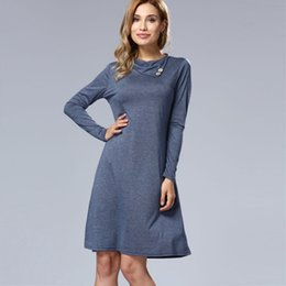 dress knee length cowl NZ - New Autumn Europe Style Women Dress Cowl Neck Pencil Dress Knee Length Long Sleeved Women's Casual Bodycon Dresses Clothing Two piece\lot