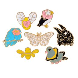 EnamEl buttErfly jEwElry online shopping - Cartoon Animal Brooch Pigeon Rabbit Butterfly Parrot Bee Metal Badges Hard Enamel Pins Collection Jewelry Gift Bag Jacket Coat Accessory