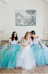 short aqua prom dresses 2019 - Amazing White Aqua Ball Gown Bridesmaids Dresses 2019 Cheap Off the shoulder Satin Tulle Pleated With Sleeves Zipper Bac
