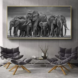 african modern abstract art paintings Australia - Modern Animals Posters and Prints Wall Art Canvas Painting African Elephant Herd Pictures for Living Room Cuadros Decor No Frame