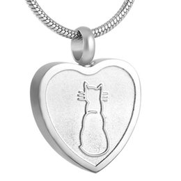 $enCountryForm.capitalKeyWord Australia - IJD8253 Stainless Steel Cremation Necklace Pet Urn Heart Pendant with Cat Print Ashes Necklace,Free Filling Kits