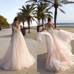 $enCountryForm.capitalKeyWord Australia - Blush Pink A Line Wedding Dresses 2020 V Neck Lace Appliqued Sexy Backless Bohemian Wedding Dress Sweep Train Beach Bridal Gowns