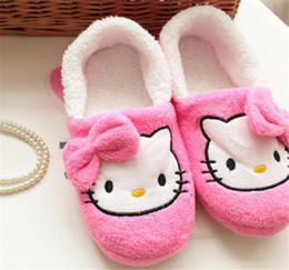 $enCountryForm.capitalKeyWord Australia - Winter Home Slippers For Women Cartoon Hello Kitty Indoor Shoes Warm House Shoes Plush Slippers With Bowtie Loafers Pantuflas