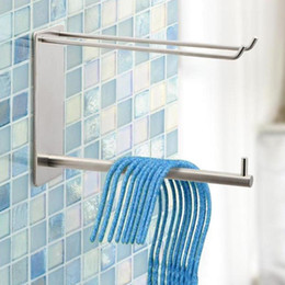 clothes stainless hangers Australia - Stainless Steel Clothes Rack Clips Holder Storage Organizer Adhesive Shelf Organizador Organizer Rack Hanger Towel