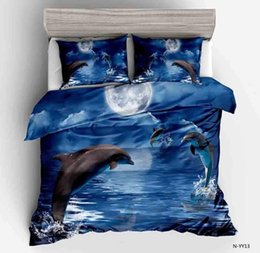 Wholesale 3D Jumping Dolphins Blue Sea Pattern Sanding Soft Polyester Duvet Cover Set