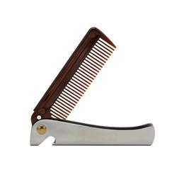 $enCountryForm.capitalKeyWord Australia - Beard Styling Shaping Comb Plastic Teeth Stainless Steel Handle Bottle Opener Folding Metal Popular Comb