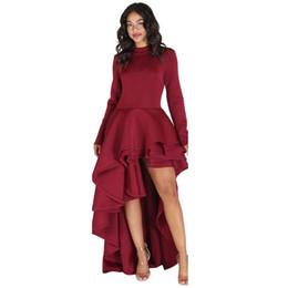 $enCountryForm.capitalKeyWord UK - Women crochet turtleneck dress Long Sleeve High Low Peplum Bodycon Casual Ladies Party Club Dress in Four Colour High Quality
