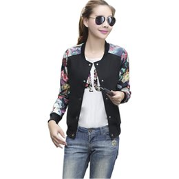Flower Print Plus Big Size Baseball Short Jacket Women Denim Round Collar Button Thin Bomber Jackets Long Sleeves Girl Coat Basic