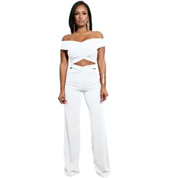 97db1d69a86 2Pcs Women Sets Off-shoulder Bandages Wrap Crop Tops Wide Leg Pants Sexy  Party Night Clubwear New Summer Trousers Set Hollow Out 6476