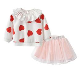 Discount retail girl shirt - INS baby girl clothes autumn girls suits newborn outfits princess suits Love T shirt+tutu skirt baby girl designer cloth