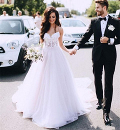 cheap white tulle dresses Australia - Free Shipping A Line White Tulle Beach Wedding Dresses Bridal Gowns vestido de novia Boho Cheap Sweetheart Wedding Dress Lace Applique