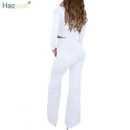 two piece set pants NZ - Wholeslae-HAOYUAN 2 Piece Outfits for Women Clothes Matching Set Crop Top and Boot Cut Pant Suits Fall Winter Sexy Club Two Piece Sets