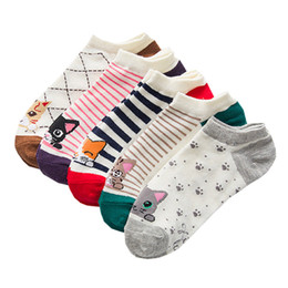 Colorful Cotton Socks Australia - women cotton socks Fashion Female Short Kitten Colorful Tube Art Casual Cute Cat Socks For Girls calcetines fza0119