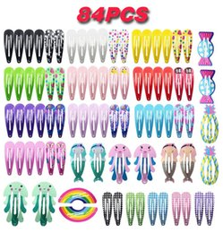 hair clip animals Australia - 84PCS Set New Cute Cartoon Metal Printing Colour Animal Baby BB Clips Girls Hairpins Hair Clip Kids Headwear Children Accessories