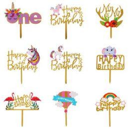 "Discount unicorn cakes - ""Happy Birthday"" Cake Topper Colourful Acrylic Unicorn Flamingo Elephant Flower Balloon for Party Decoration D"