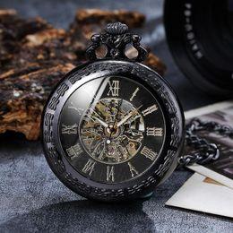 $enCountryForm.capitalKeyWord Australia - Vintage Luxury Skeleton Steampunk Mechanical Pocket Watches Roman Numerals Hand-wind Fob Chain Clock Men Women Collection Gift