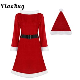 Santa Women Costume NZ - TiaoBug Women Ladies Red Soft Velvet Dress with Belt Hat Santa Claus Costume Xmas Cosplay Party Dress Up Adult Christmas Costume