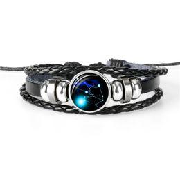 Gem Men NZ - Genuine Real Leather Rope Beaded Bracelet & Bangles For Women Men 12 Horoscope Zodiac Taurus Time Gem Glass Cabochon Jewelry Size Adjustable
