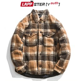 Wholesale mens vintage wool coat for sale - Group buy LAPPSTER Youth Autumn Men Harajuku Plaid Wool Jackets Mens Korean Fashion Vintage Coats Thick Winter Windbreaker Streetwear