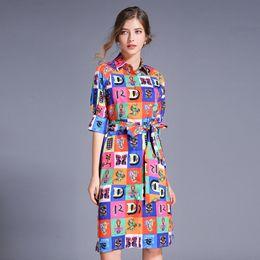 $enCountryForm.capitalKeyWord Australia - New 2019 Summer Celebrity Runway Plaid Printed Womens Ladies Casual 1 2 Sleeve Lapel Neck Sashes A-Line Shirt Designer Dresses Vestidos