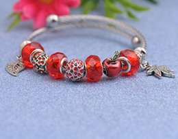 Silver Red Apple Pendant Australia - Titanium Steel Wire Charms Bracelets Fit Pandora Women Faceted Murano Glass Beads Red Apple Bangle Silver Leaf Pendant Jewelry Girl P154