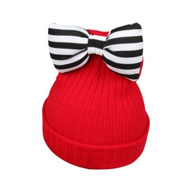 Cute Baby Girl Hat Farfalla-Knot Kids Woolen Warm Hat all'uncinetto Kawaii Baby Winter Girls