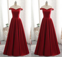 $enCountryForm.capitalKeyWord NZ - Dark Red Prom Dresses Plus Size Long 2019 Off The Shoulder Satin A-line Empire Waist Evening Dress Formal Elegant Party Gowns Custom Made