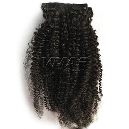 smooth soft hair UK - 100g 120g 140g 4A Afro Kinky Curly Clip In Hair weave Extension Fashionable Soft Smooth Silky 100% Natural Black Peruvian Virgin Human Hair