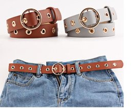 wholesale fashion skinny belts women Canada - Amazing Studded Women Belt Thin Alloy Round Buckle Casual PU Leather Belt For Women 110 cm Strap Waist Belt Candy Skinny Belts