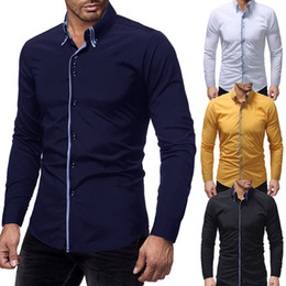 Shirt Korean Designs Australia - 2019 Fashion Brand Camisa Masculina Long Sleeve Shirt Men Korean Slim Double Collar Design Casual Dress Shirt Plus Size Black